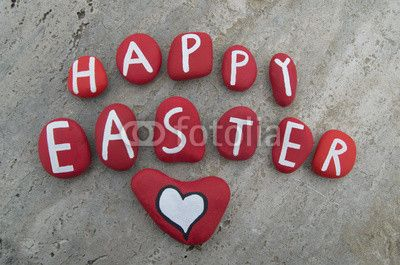 Happy Easter on red colored stones
