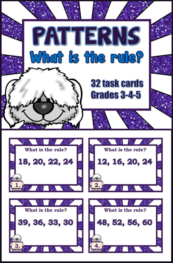 Identification of addition and subtraction patterns -- 32 task cards -- grades 3-4-5; Recording sheet and answer key are included.