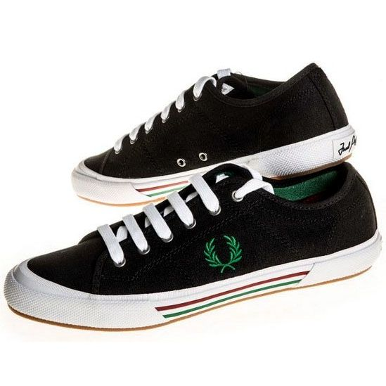 Vintage Tennis Style Plimsoll Canvas Sneaker in BLACK by Fred Perry (Sale price!)