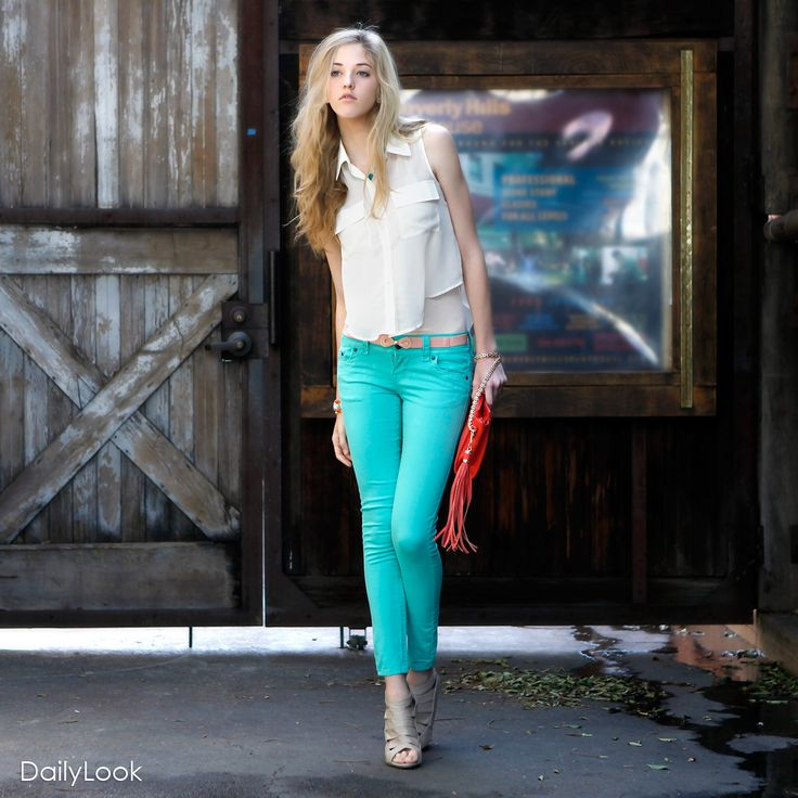 Check out Seaside Stroll Look by Love Tree, Scarlet Boulevard and Bamboo at DailyLook: Green Jeans, Mint Pants, Colors Pants, Mint Green, Colors Skinny Jeans, Blue Pants, Seaside Stroll, Colors Denim, Bright Colors