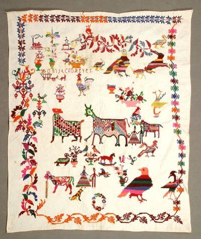 19th C Mexico.   Spot sampler with many fanciful figures, animals and floral motifs. Some motifs are careful copies from pattern books and some are originals by the maker or creatively interpreted - notably the figures across the center. Name in upper left quadrant: Bonita cro(?)Reyes.