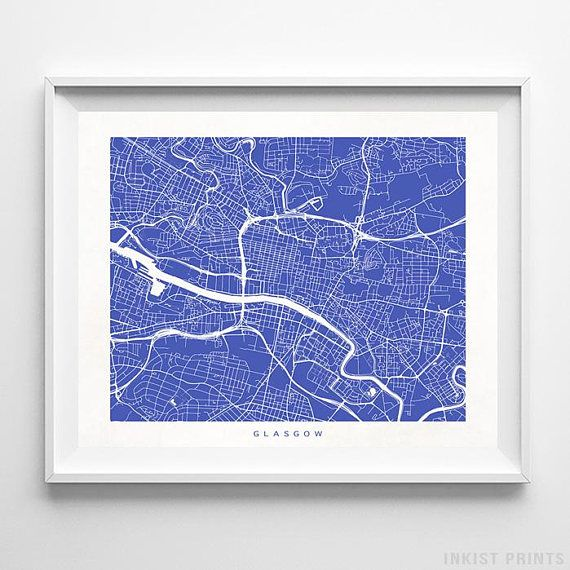 Glasgow, Scotland Street Map Wall Art Poster - 70 Color Options - Prices from $9.95 - Click Photo for Details - #streetmap #map #homedecor #wallart #Glasgow #Scotland