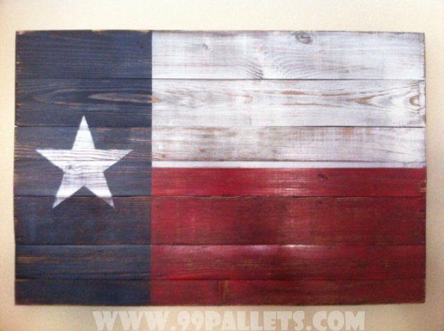 20 DIY Pallet Art Flag Ideas:  30 x 20 Texas State Flag