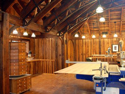 It looks like this is a workshop. It looks like it should be in a law library or a vintage pub. This company deals in reclaimed wood. http://www.elmwoodreclaimedtimber.com/