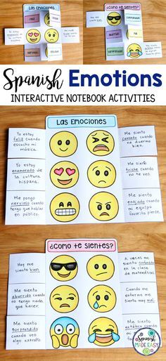 Spanish Emotions interactive notebook activity.