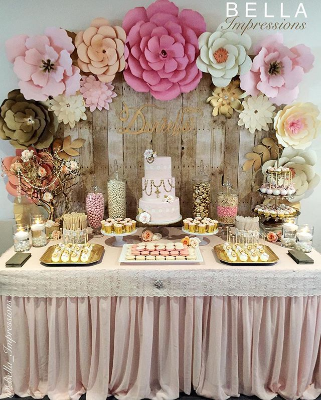 When your hard work and attention to detail come together just perfectly.   @bella_impressions custom paper flower backdrop w/ wood panel background & calligraphy name sign + the tastiest french macarons.  @kitoscakes my talented sister put together the dessert table as well as making the cake & cupcakes. @dipd_n_dripd made the cutest cake pops.  #calligraphyname #handmadewithlove #desserttable #frenchmacarons #paperflowerwall #paperflower #rusticdecor #rusticglam #blushandgold #ocevents…