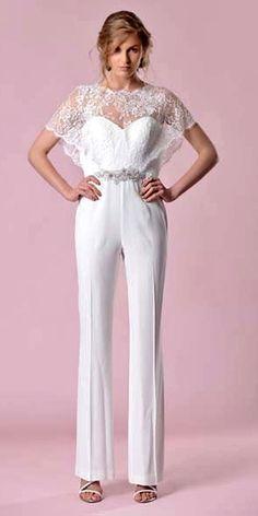 wedding pantsuit via gemy maalouf 2 / http://www.deerpearlflowers.com/wedding-pantsuits-and-jumpsuits-for-brides/