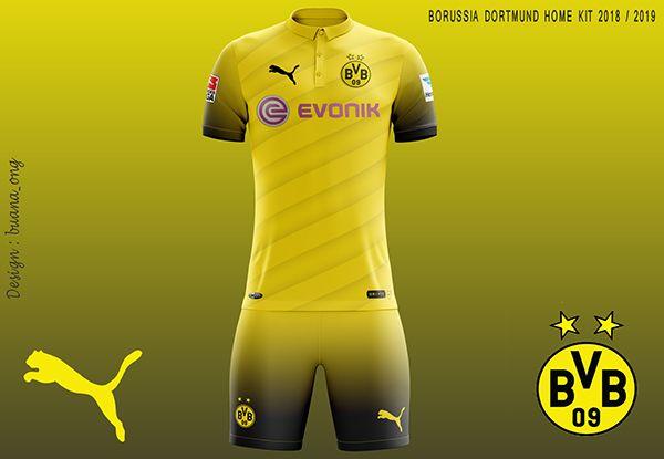 Borussia Dortmund Concept Home Kit 2018 2019 On Behance Sports Jersey Design Jersey Design Borussia Dortmund