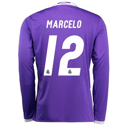 Image of Real Madrid Away Jersey 2016/17 - Long sleeve - with Marcelo 12 printi