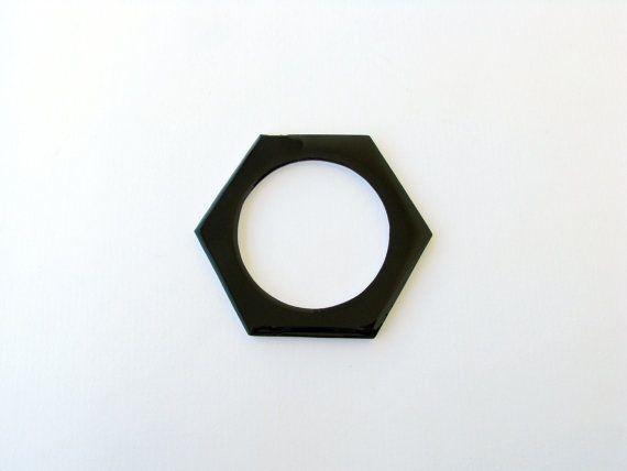 Black White Bangle-Resin Black by SotiriaVasileiou on Etsy