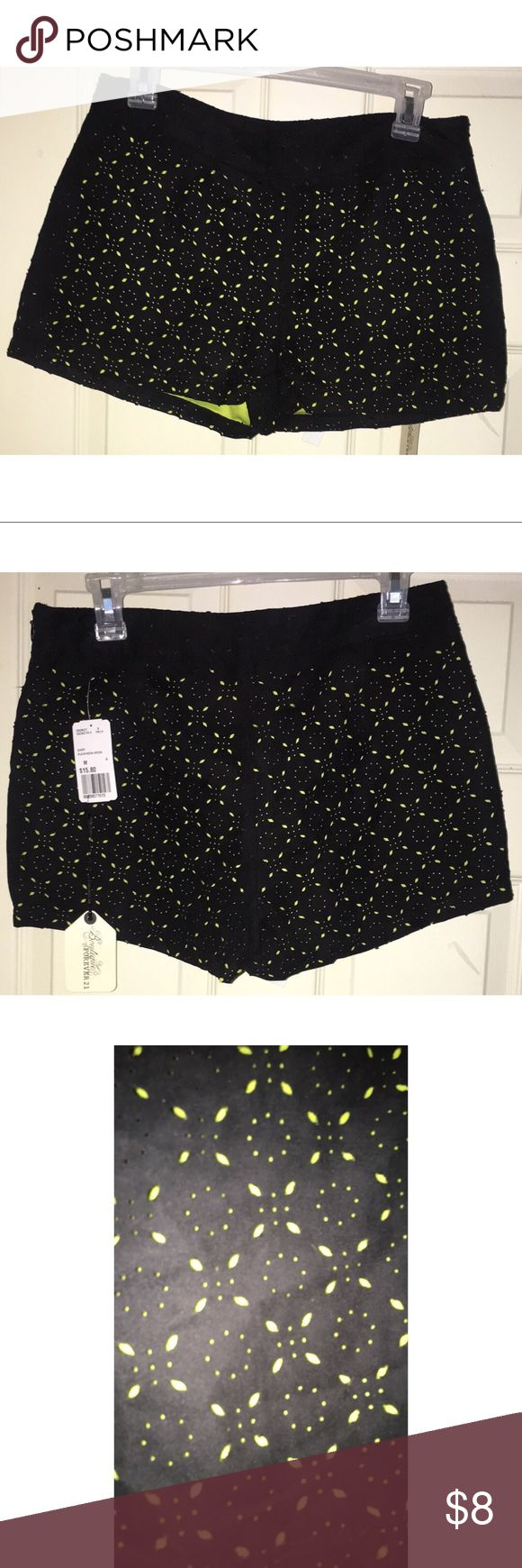 Suede Cut-out Black and Neon Green Shorts Suede cutout with neon green underneath Forever 21 Shorts