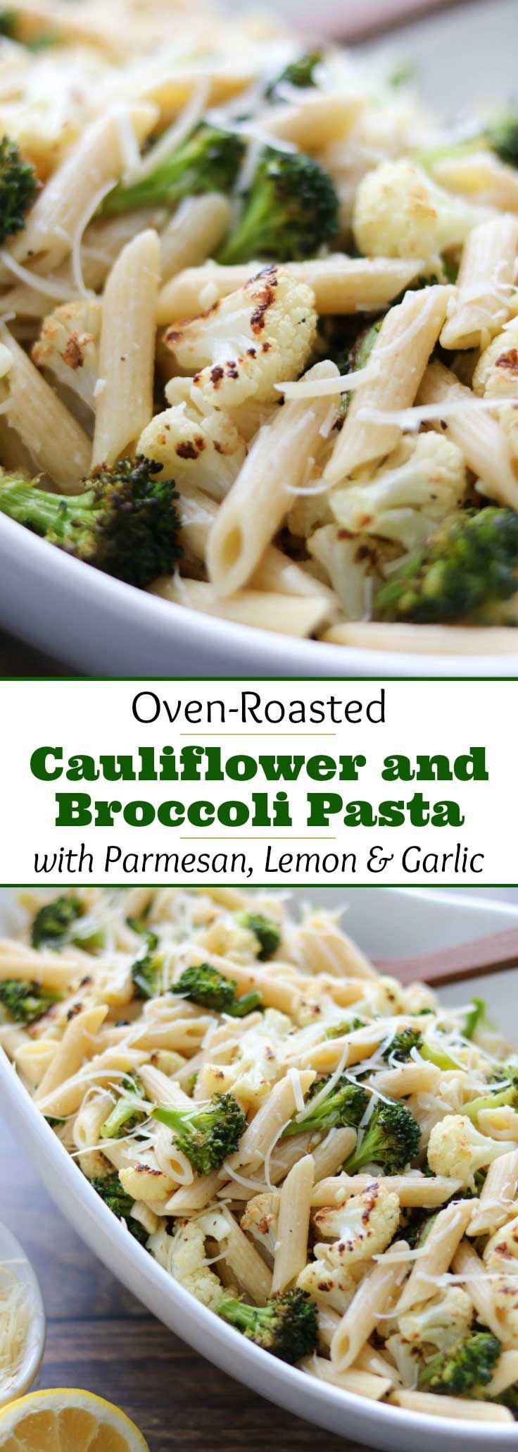 An easy, deeply flavorful pasta recipe featuring roasted cauliflower and broccoli - plus parmesan cheese, garlic and bright lemon juice to round out the salty-umami-tangy symphony of tastes. Deceptive