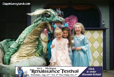 Michigan Renaissance Festival Ticket Giveaway - Win a 4 Pack of Tickets (TWO WINNERS) - Ends 8/18  Enter here ===> http://couponsavvysarah.blogspot.com/2015/08/michigan-renaissance-festival-ticket.html