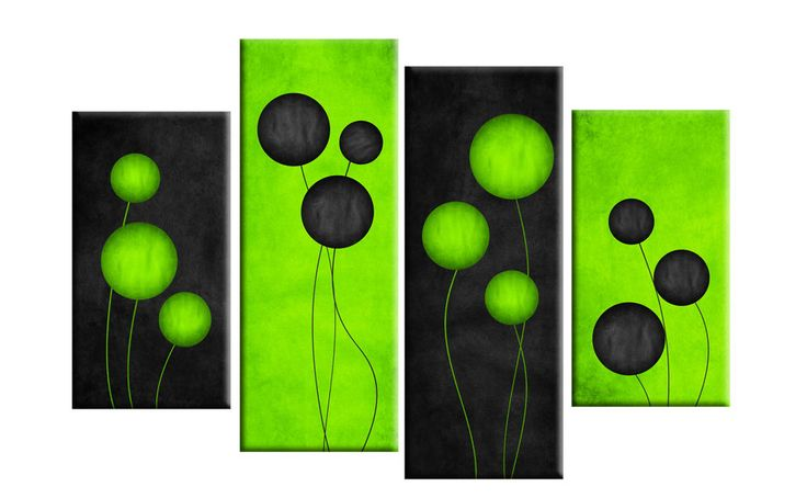 """LARGE LIME GREEN BLACK ABSTRACT CIRCLES CANVAS PICTURES SPLIT MULTI 4 PANEL 40"""""""
