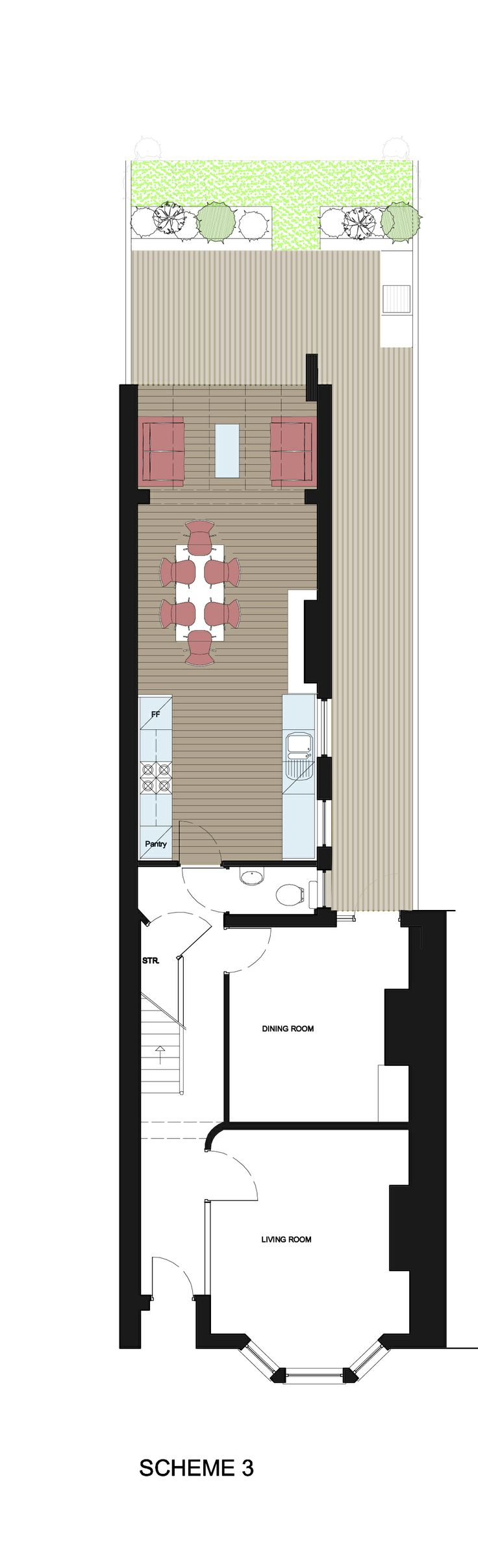 Plan of the rear extension and renovations.