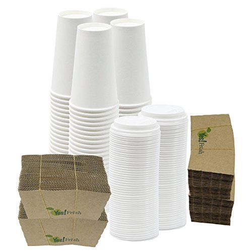 $24.99 for 16 oz, $22.99 for 20 oz 100 Disposable Paper Hot Coffee Cups with 100 Cappuccino Lids and 100 Protective Corrugated Cup Sleeves, White (16 Ounce) Yes!fresh http://www.amazon.com/dp/B01AT2WMNG/ref=cm_sw_r_pi_dp_vZVfxb1SAV3W2