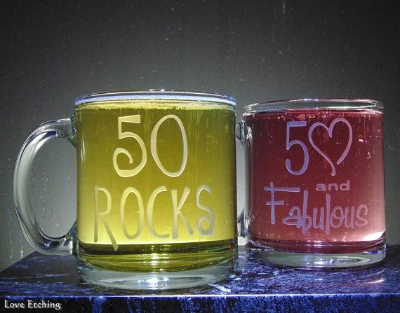 50 ROCKS Etched Glass Coffee or Tea Mug by LoveHandyWork on Etsy