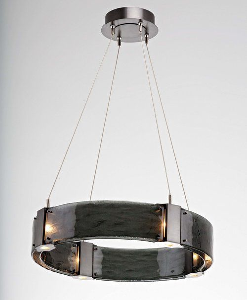 Floating LED-lit panels of sparkling hand-fused kiln smoke glass take the spotlight in contemporary ceiling lights and sconces. #Contemporary #Lighting
