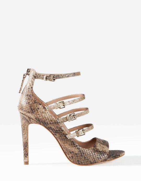 High heel snake-skin effect sandals - HEELED SANDALS - Stradivarius Hungary