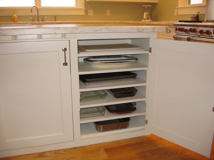 Smart idea for a kitchen cupboard for 9 X 13 pans, cookie sheets, and cutting boards.