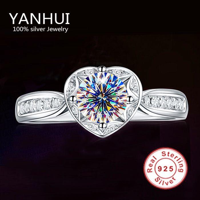 90% OFF!!! Fine Jewelry Real Solid 925 Sterling Silver Ring Romantic Heart Shape Inlay 1CT CZ Diamond Wedding Rings For Women www.bernysjewels.com #bernysjewels #jewels #jewelry #nice #bags