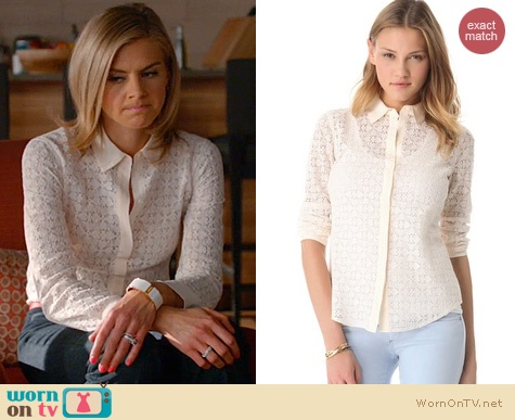 Jane's white lace shirt on Happy Endings.  Outfit details: http://wornontv.net/14895/