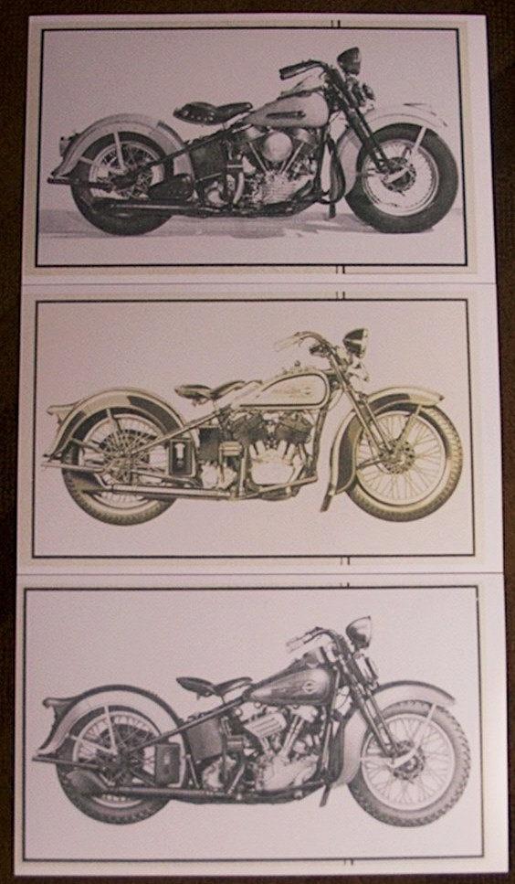 Etsy print Vintage Harley Davidson Motorcycle Photo Copies-Set of 3