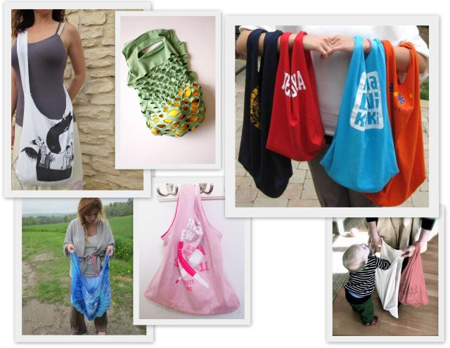 Sustainable style t shirt tote bag diy round up forever for Reusable t shirt bags