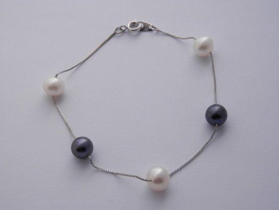 Pulsera de perlas-pulsera de perlas negras y por PearlDazzle