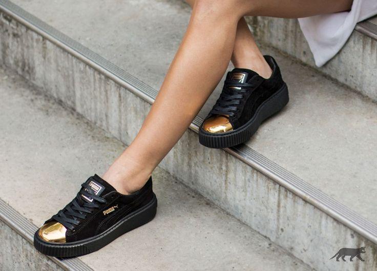 Puma Suede Platform Gold (Gold / Puma Black / Puma Black)