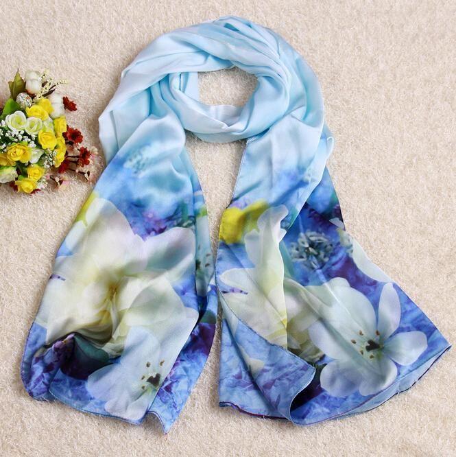 NEW Style Women Blue Rhyme White Pear Print Lady Soft Long Neck Large Scarf Wrap Shawl