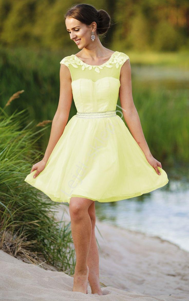 Tulle yellow dress. Prom cheap dress.  Tiulowa żółta sukienka z kryształkami  w pasie. www.lejdi.pl