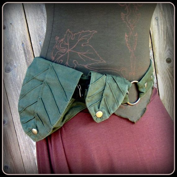 Talismana Designs ~ Green Leaf Pocket Belt ~ Utility Belt ~ Green Man Elf Forest ~ canvas fabric ~ Adustable from Small to Extra Large ~ unisex