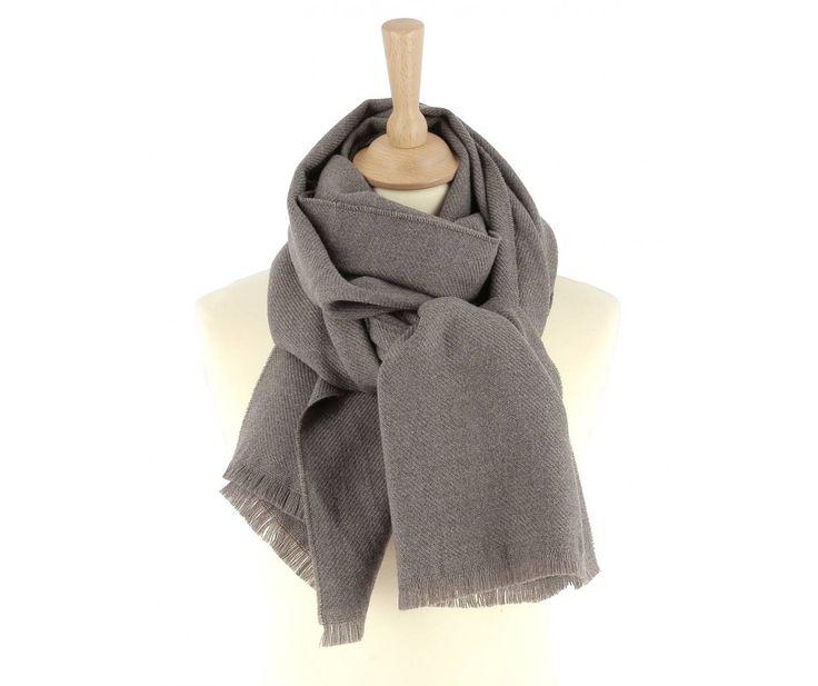 Écharpe femme pure laine vierge taupe foncé LAURA | Saheline.com