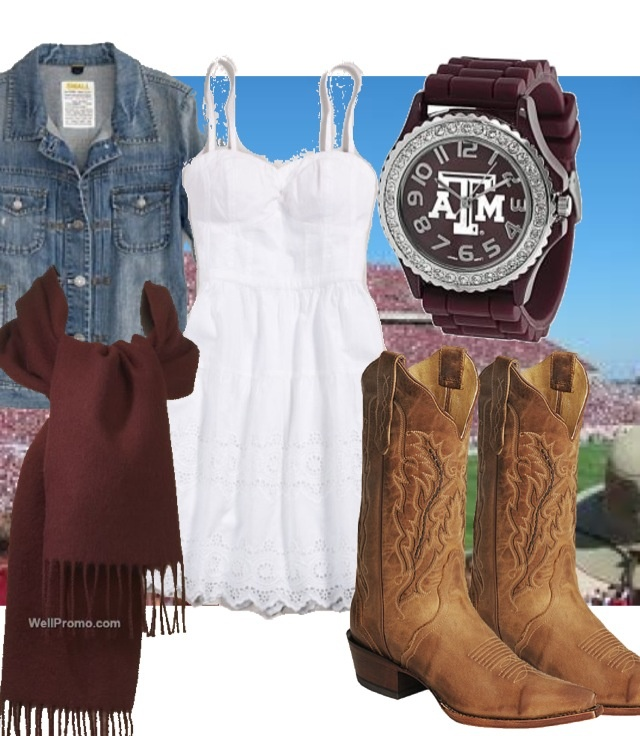 AGGIE GAME DAY OUTFIT: White sun dress, jean jacket, maroon scarf & cowboy boots of course :) Maybe an aggie watch?
