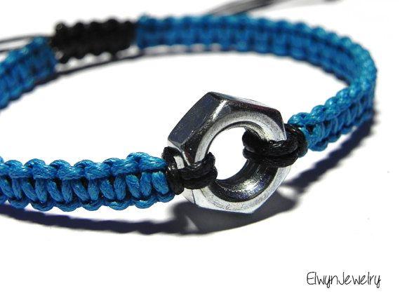 Hex Nut Bracelet, Engineer Bracelet, Mechanic Gift Idea, Mechanical Engineer Gift, Men's Cord Bracelet, Gift for Him, Men's Bracelet