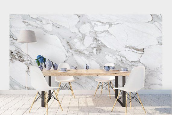Carrara Marble Wallpaper Luxury Removable Peel And Stick Etsy Marble Wallpaper Indoor Decor Marble Wall Mural
