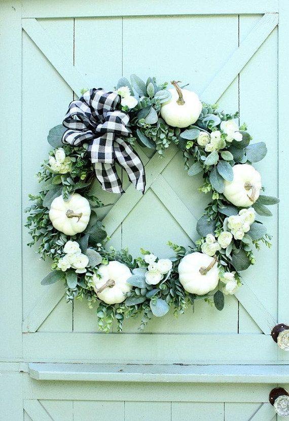 Fall Wreath ~ Autumn Wreath ~ White Pumpkin Wreath ...
