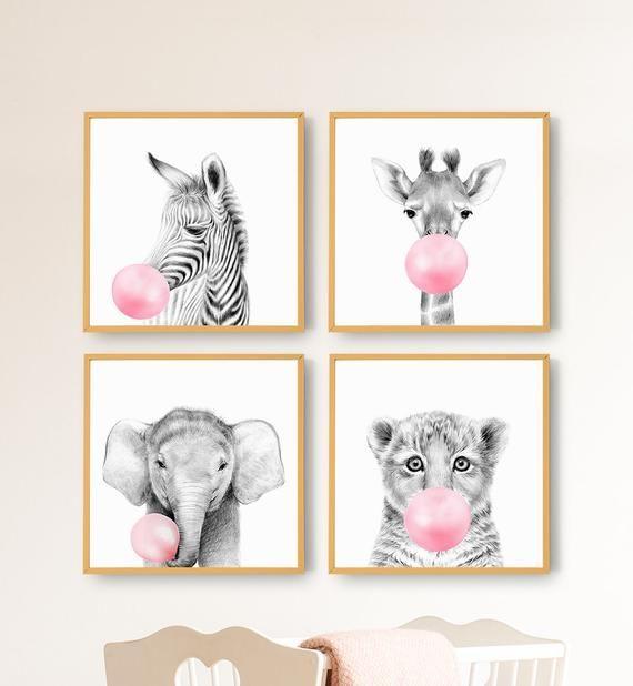 Set Of 4 Safari Animals Print Girl Nursery Decor Baby Zebra