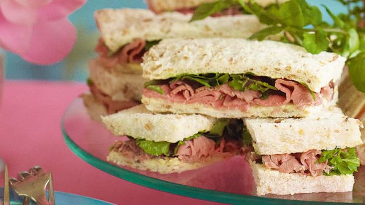 Roast beef and watercress sandwich