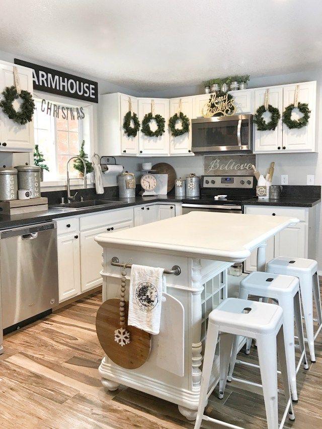 Christmas Home Tour White Modern Kitchen Kitchen Remodel Design
