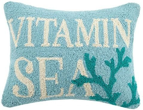 Sometimes the only vitamin you need comes from the sea- Vitamin Sea Hook Pillow, is a great look for your beach style room. Plump wool hooked pillow, completed with a poly insert, velvet backing and z