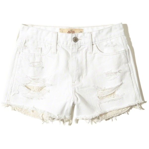 Hollister High-Rise Denim Short-Shorts (2,510 PHP) ❤ liked on Polyvore featuring shorts, ripped white, white short shorts, white ripped shorts, distressed high waisted shorts, destroyed denim shorts and high rise denim shorts