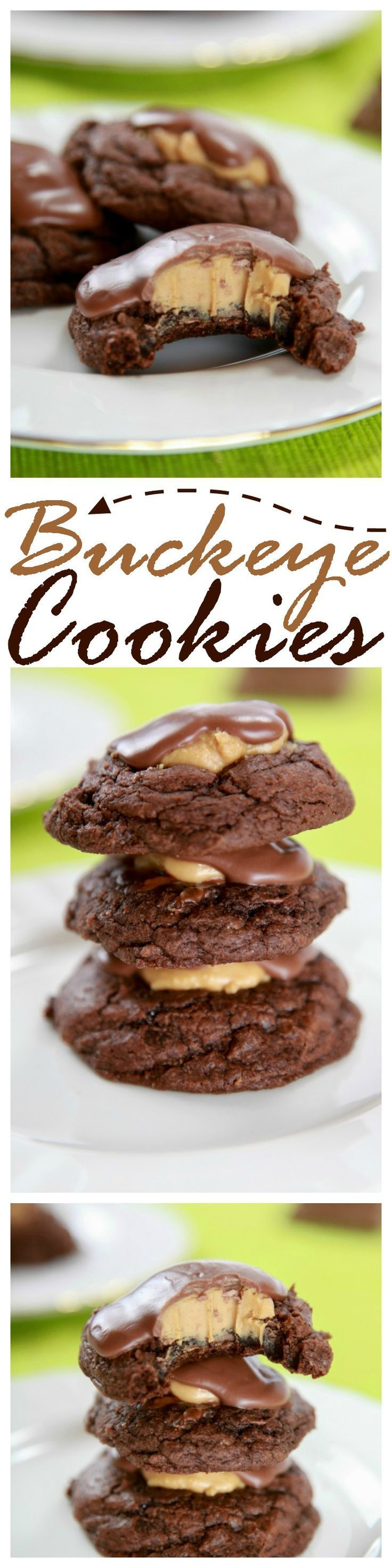 Buckeye Cookies: Chewy fudge brownie cookies, topped with peanut butter icing, and a milk chocolate drizzle.