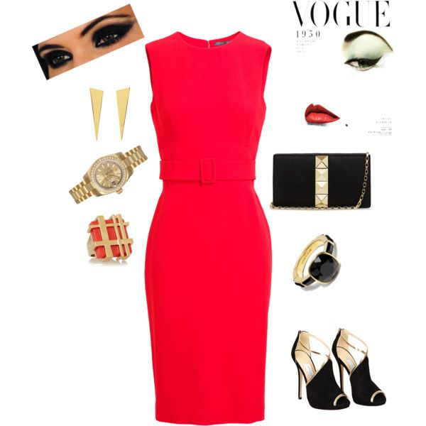 """""""wedding guest outfit"""" by mrussell67 on Polyvore let  accessories to the talking on a classic red dress"""
