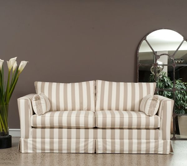 Venice Queen Sofa Bed. At Sofa Studio we cater for modern and traditional sofa beds. This beautiful stripe fabric has the added advantage of being washable. We carry a full range of fabrics from the leading fabric houses in Australia.