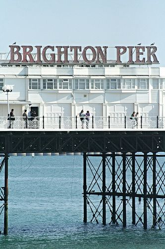 Brighton Pier sign: the owners changed the sign from Palace Pier in 2000 (an informal name change not recognised by the National Piers Society or many Brightonians). The full name of the pier is 'Brighton Marine and Palace Pier'