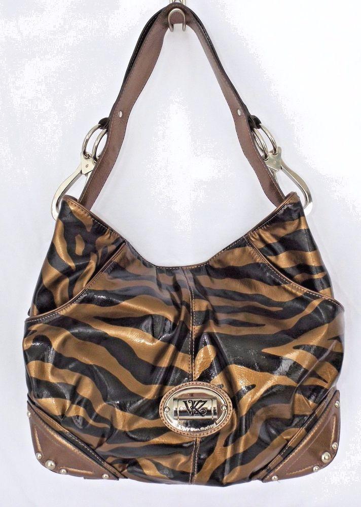Kathy Van Zeeland Large Copper Colored Zebra Print Shoulder Bag ... d690b6ed33096