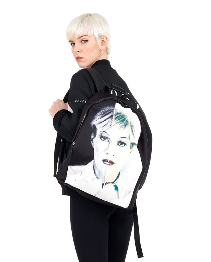 PORTS 1961 Backpack black neoprene Print Andy Warhol two leather straps adjustable interior with a pocket top closure with zip