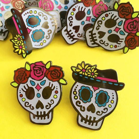 Day of the Dead Sugar Skull Enamel Pin  Glow in the dark